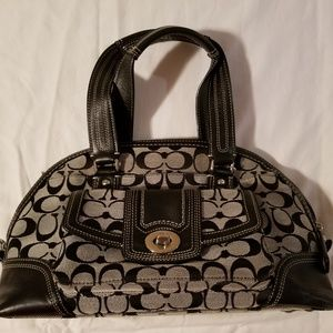 Coach HAMPTONS Black & Gray Signature Zip Satchel